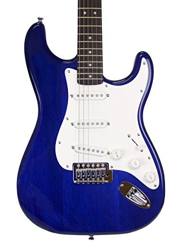 Squier by Fender Short Scale (24') Stratocaster - Transparent Blue Bundle with Frontman 10G Amp, Cable, Tuner, Strap, Picks, Fender Play Online Lessons, and Austin Bazaar Instructional DVD