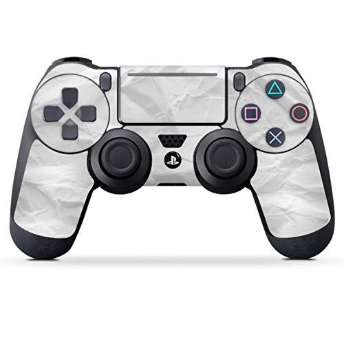 DeinDesign Skin kompatibel mit Sony Playstation 4 PS4 Slim Controller Folie Sticker Papier einfarbig weiß