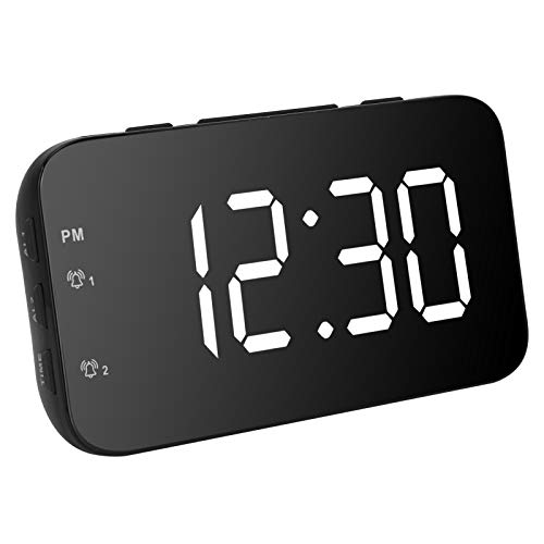 Nannday Despertador LED Despertador, Despertador Digital de Ajuste de Alarma Dual, para Hotel en casa(White)