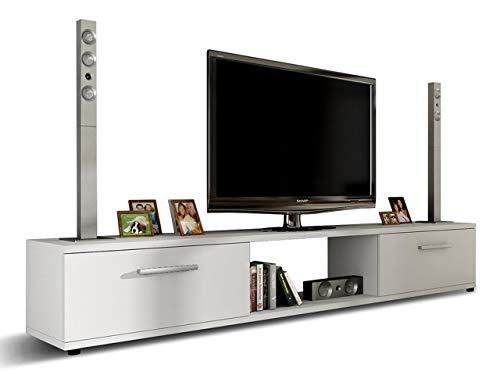 Mirjan24 TV Lowboard Board Horton I, TV Schrank, Tisch, Fernsehtisch B:176 cm, H:28 cm, T:40 cm, Fernsehschrank TV-Bank (Weiß)