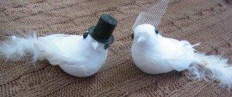 Tauben - Brautpaar Hochzeit mit Stecker Braut Bräutigam