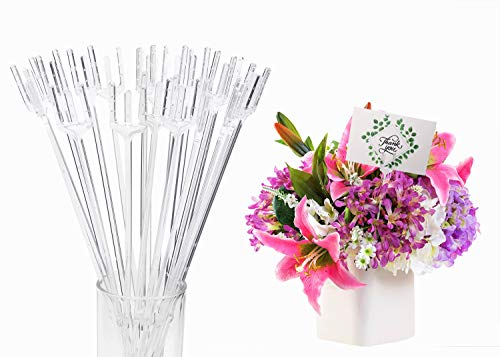 Penta Angel Clear Plastic Floral Picks 20Pcs Transparent Straight Head Flower Picks Fork Shape Place Name Photo Gift Card Holders for Wedding Birthday Party Decoration