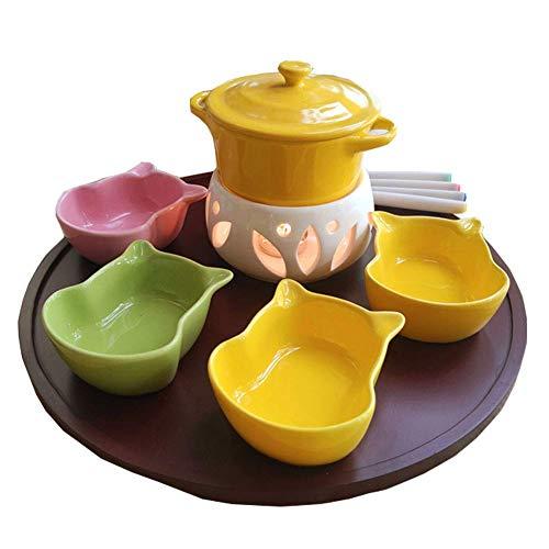 AJH Keramikschmelztiegel mit 4 Gabeln 4 Schalen Käse Schokoladenfondue Schokoladenbrunnen ohne Kerze für Home Kitchen Hotels, Gelb