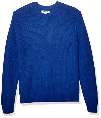 Amazon Brand - Goodthreads Men's Soft Cotton Rib Stitch Crewneck Sweater, Bright Blue Large
