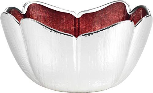 Argenesi Tulipano Bol en Verre 22 x 10 cm – Couleur Rouge, Taille Unique