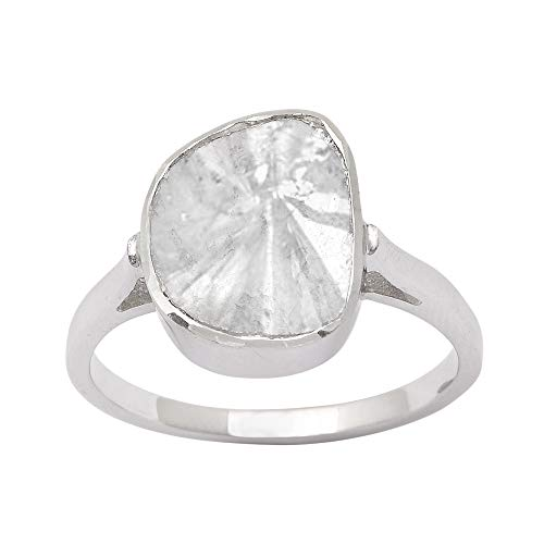 Shine Jewel 0.70 CTW Anillo de polki de Diamante de Compromiso Solitario Plata de Ley 925