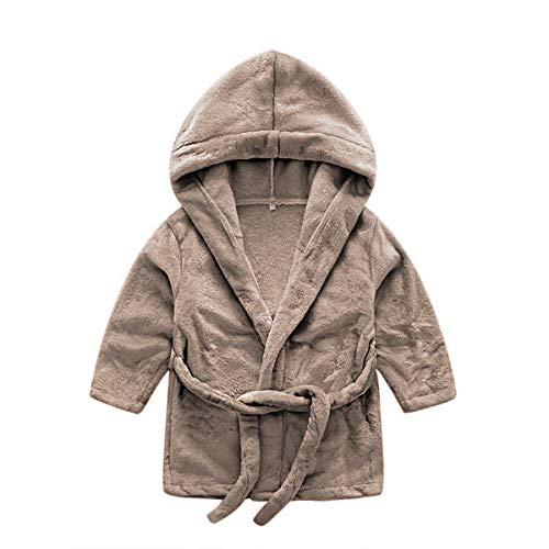 DEBAIJIA Baby Bademantel 0-14T Säugling Hausmantel Neugeborene Pyjama Kinder Handtuch Robe Nachtwäsche Unisex Junge Mädchen (Hellbraun-66)