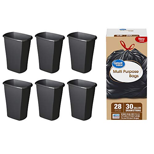 A.T. Products Corp. Sterilite, 3 Gal./11.4 L Rectangular Black Wastebasket, Case of 6 Bundle with Great Value Multi-Purpose Drawstring Trash Bags 30 Gallon, 28 Count
