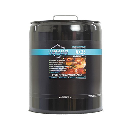 5 Gal. Armor AX25 Solvent Based High Gloss Siloxane Infused Acrylic Concrete Sealer and Paver Sealer