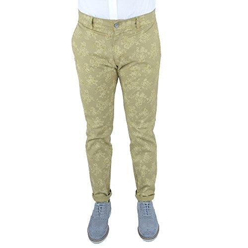 Maskio Pantalone Uomo Slim Fit Comfort Tasca America Cotone Jeans Chino Capri Risvoltino Fango Fiori