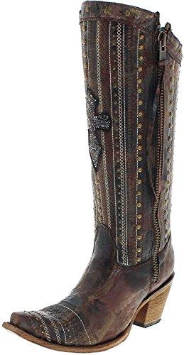 Corral Boots Damen Cowboy Stiefel C2925 Brown Crystal Lederstiefel Westernstiefel Braun 38.5 EU