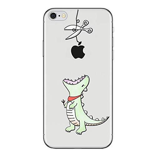 Karomenic Silikon Hülle kompatibel mit iPhone SE/5S/5 Kreative Cartoon Transparent Handyhülle Durchsichtig Schutzhülle Crystal Clear Weiche Soft TPU Tasche Bumper Case Etui,Grüner Dinus