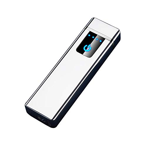 THE NAMCHE BAZAR USB Feuerzeug elektronisches aufladbar, Dual Lichtbogen, Flamme ohne Gas. Premium-Qualität mit Geschenk-Box. SturmFeuerzeug (Silber)
