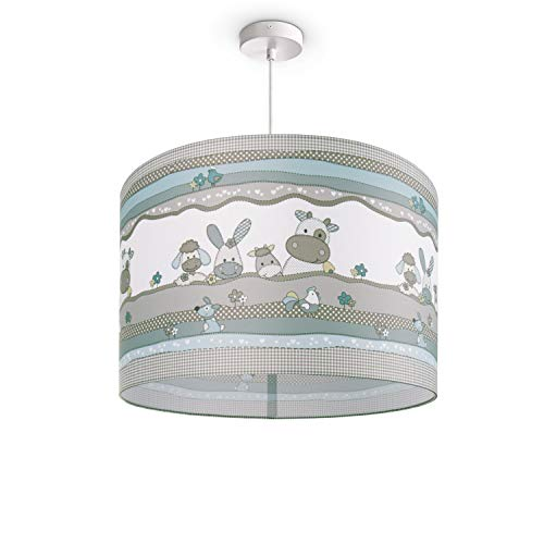 Kinderlampe Deckenlampe LED Pendelleuchte Kinderzimmer Lampe Tier-Motiv, E27, Lampenschirm:Beige (Ø45.5 cm), Lampentyp:Pendelleuchte Weiß + Leuchtmittel