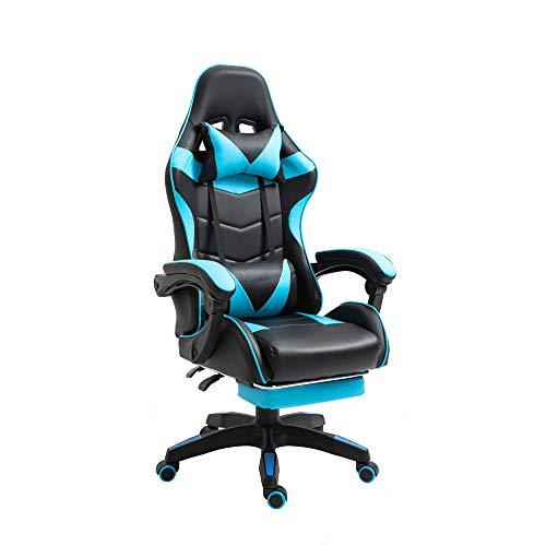 TTT Silla de Oficina PC Gaming Videojuegos Racing Escritorio Sillon Gamer Despacho, Negro-Azul, Universal