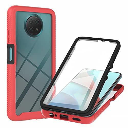 TTNAO Funda para Xiaomi Redmi Note 9 5G Cover,Pet Material Carcasa 360 Grados Protección Case Práctica Protector de Pantalla Incorporado Cover Antichoque Resistente a los Arañazos Bumper Case-Rojo