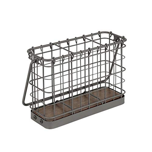 Spectrum Diversified Vintage Caddy, Cutlery Modern Farmhouse Dining Table Décor & Kitchen Organization, Rustic Silverware Holder With Handle, One, Industrial Gray