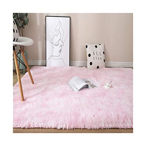 WAZG SYBLD Rainbow Color Carpet Dyed Plush Soft Carpet, Used For Bedroom And Living Room Non-slip Floor Mat Carpet (Color : Light pink, Size : 100x200cm)