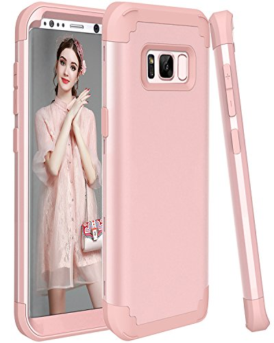 Galaxy S8 Case, SAVYOU 3in1 Shockproof Drop-Protection Hard PC Soft Silicone Combo Hybrid Impact Defender Heavy Duty Full-Body Protective Case Cover for Galaxy S8 Rose Gold