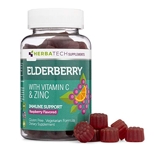 Sambucus Elderberry Gummies with Zinc and Vitamin C (60 Gummies, 100mg Black Elderberry, 68% of Daily Zinc, and 100% of Daily Vitamin C Intake) Immune Support for Kids and Adults from Herbatech…