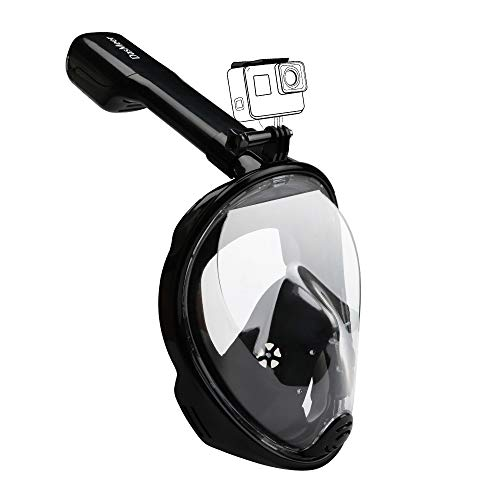 DasMeer Full Face Snorkeling Mask 180°Seaview Easy Breathing Diving Masks for Adults or Kids Anti-Fog Anti-Leak with Action Camera Slot