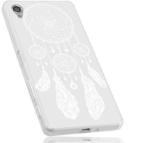 mumbi Hülle kompatibel mit Sony Xperia X Handy Case Handyhülle mit Motiv Traumfänger, transparent, grey & babyblue, mumbi_24659
