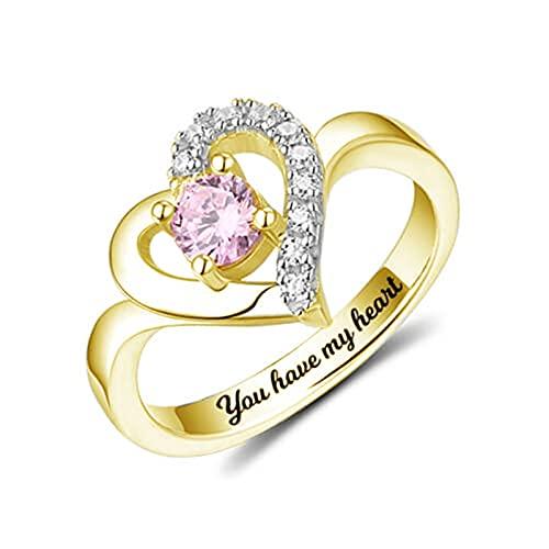 Anillo de piedra de nacimiento personalizado Anillo de nombre de compromiso de corazón Anillo de plata Aniversario de bodas(Oro 22)