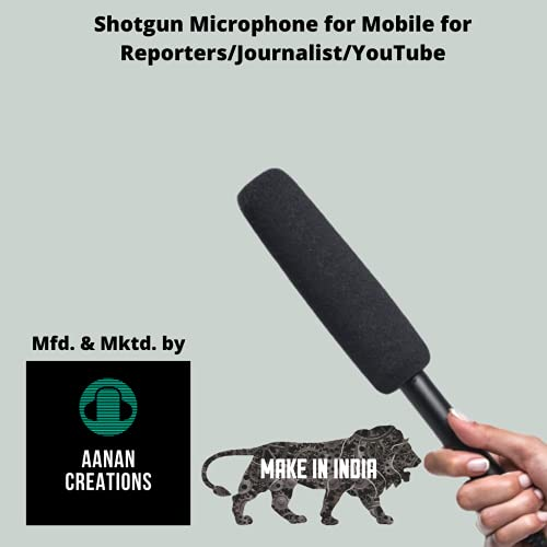 Aanan Creation Mic Shotgun Condenser Microphone to Interview for Mobile Phone (Black)