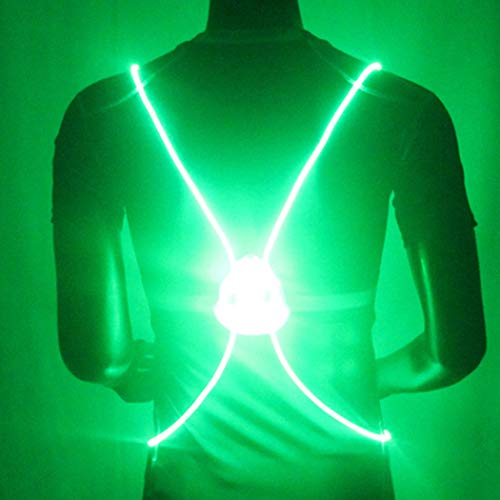 Bodiy Reflective Vest Gear Led Running Light Walking Sport Motorcycle Biking Safty Body Lights Belt for Women and Men (Green)