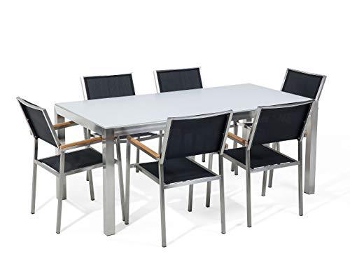 Beliani - Table de Jardin et 6 Chaises - Grosseto - Plateau en Verre, 180 x 90 cm, Chaises en Textilène, Blanc et Noir