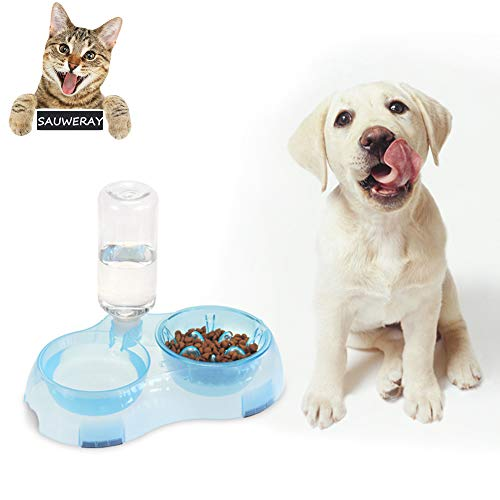 SAUWERAY Pet Water and Food Slow Food Bowl Set, Dog Cat Feeder Bowl and Automatic Water Dispenser Double Pet Bowl,Pink