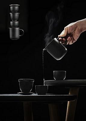 DehuaYao Ceramic Teapot with 2pcs Cups, Portable Travel Tea Set