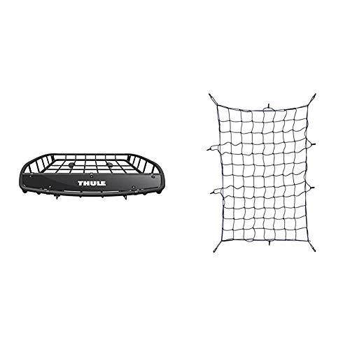 Thule 859002-Gepäckträger Dach Canyon, schwarz & 595100 Gepäcknetz Zubehör, 130 x 90 cm