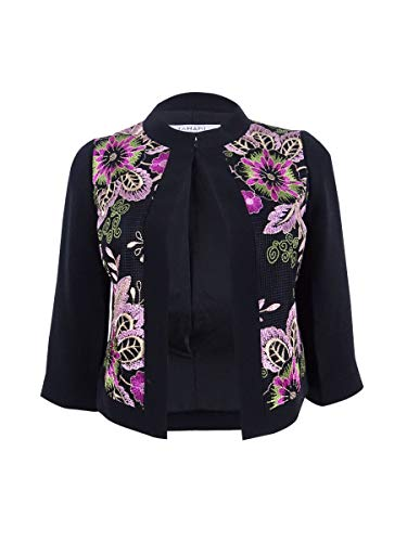 Tahari ASL Women's Petite Embroidered Blazer (0P, Black/Pink/Fuchsia)