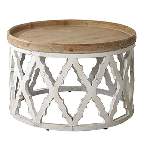 GJHBFUK End Tables,side table Retro End Table Solid Wood Round Old Coffee Table American Country Sofa Side Table For Living Room Bedroom Balcony Garden(Size:81.5 * 81.5 * 40.5cm)