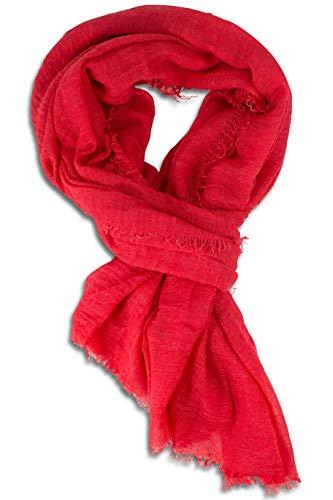 fashionchimp ® BASIC-Schal für Damen in angesagten Trendfarben und weichem Fransensaum (Himbeere)