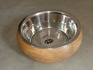 Unique India Wooden Ring Bowl Dog Feeder Stand Large