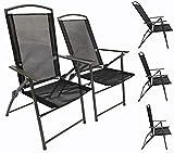 VCM Set Gartenstuhl Stühle Stuhl Metall Textilene klappbar verstellbar 2 Stühle: Anthrazit