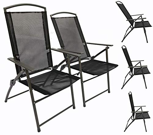 VCM Set Gartenstuhl Stühle Stuhl Metall Textilene klappbar verstellbar 4 Stühle: Anthrazit