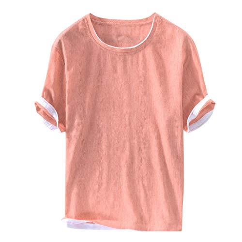 Dasongff katoenen shirt linnen shirt met turn-up mouwen patchwork korte mouwen pulli ronde hals zomertop vrije tijd shirt heren overhemd effen bovenstuk X-Large roze