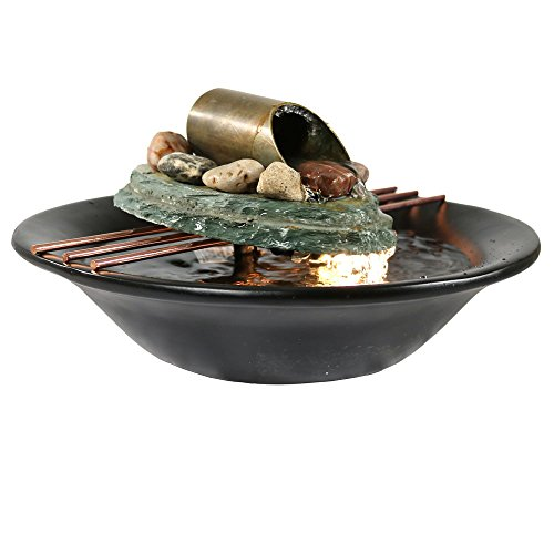 Sunnydaze Soothing Balance Slate Tabletop Water Fountain with LED Light - Peaceful and Calming Water Sound - Indoor Small Relaxation Waterfall Feature - 7-Inch