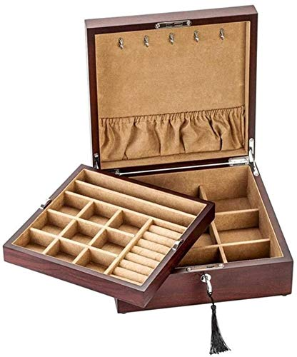 Regalo para mujeres Joyerías Cajas de joyas Joyas de madera Cofre 2 capas con bloqueo de metal Organizador de joyería Simple Desktop Caja de almacenamiento para joyería Año Nuevo regalos