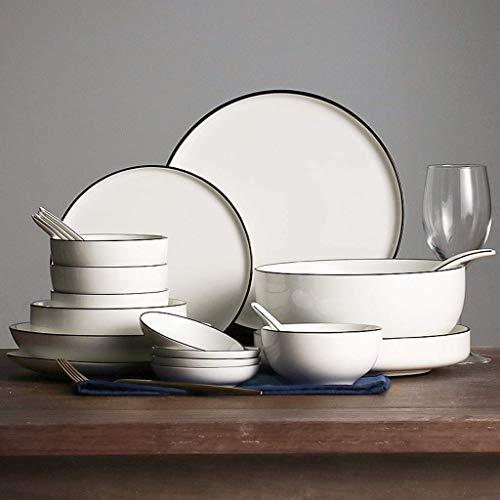 YGB Vajilla Creativity Ceramics, Cuenco/Plato/Cuchara |Juego de combinación de Porcelana Pure White Black Line - Vajilla de Estilo Minimalista de 56 Piezas para Restaurante de Fiesta