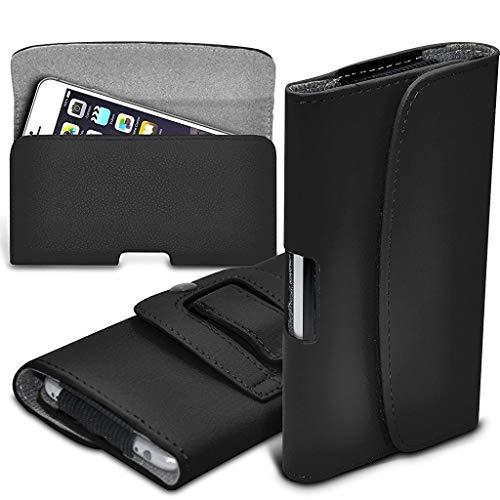 ONX3 Schwarz horizontale Tasche Kunstleder gürtel Handytasche case Abdeckung mit magnetverschluss kompatibel mit Oukitel K4000 Lite