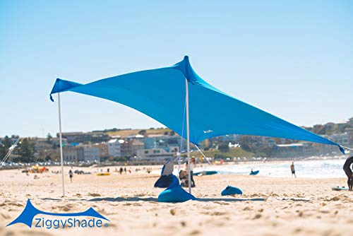 ZiggyShade Family Beach Sunshade. Lightweight Pop Up Tent Sun Shelter with Sandbag Anchors, 4 Pegs. UPF50+ Portable Outdoor Canopy. 7.2x8 FT, 2 Poles