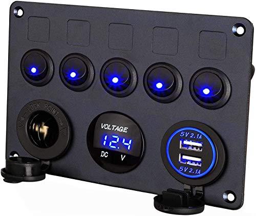 Thlevel 12V/24V Schalter Panel, 5 Gang Kippschalter Panel mit 5V 4.2A Dual USB Ladegerät, wasserdichte LED Spannungsmesser, Zigarettenanzünder Buchse für Marine Boot Wohnmobil Auto LKW Baufahrzeug