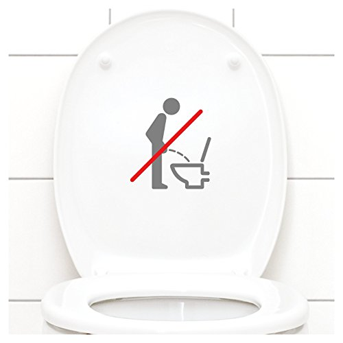 Grandora WC Deckel Sticker - Bitte im Sitzen pinkeln Schild I Mittelgrau 11 x 12 cm I Piktogramm WC Bad Badezimmer Toilette Klodeckel Aufkleber W733