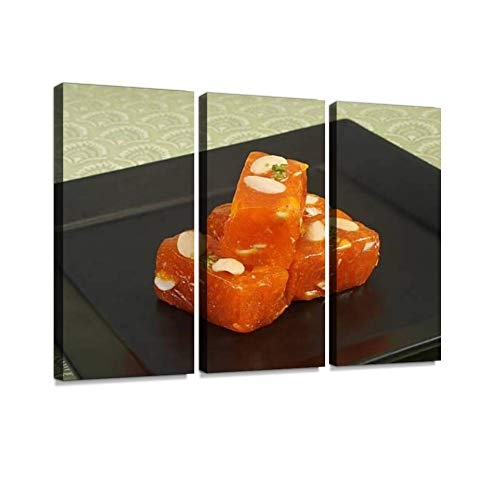 bombay karachi halwa or turkish delight indian sweets halvas and Wall Artwork Exclusive Photography Vintage Abstract Paintings Print on Canvas Home Decor Wall Art 3 Panels Framed Ready to Hang