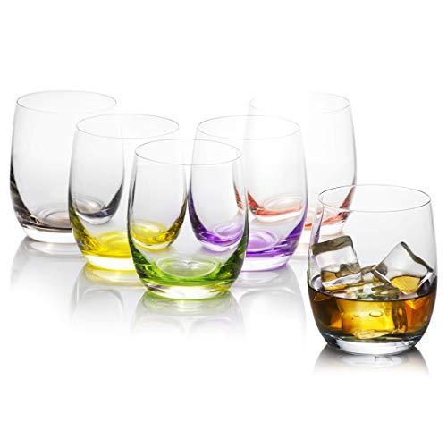 Juego de 6 vasos de colores para beber agua, zumo, bebidas y cócteles, vasos de cristal bohemio, colección Rainbow de Crystalex, colorido, juego de barra creativa, 10 onzas