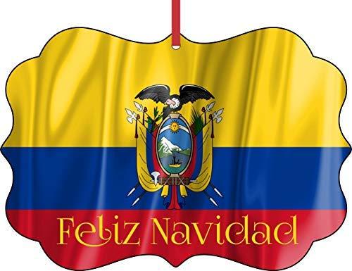 Flagge Ecuador Feliz Navidad elegantes halbglänzendes Aluminium Christbaumschmuck – Einzigartige, moderne Neuheit Baumdekoration Gastgeschenke